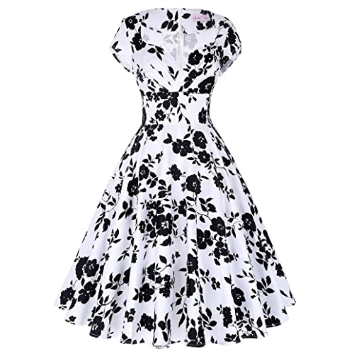 Belle Poque Retro Women 50s Elegant Floral Prom Swing Midi Dresses GF01
