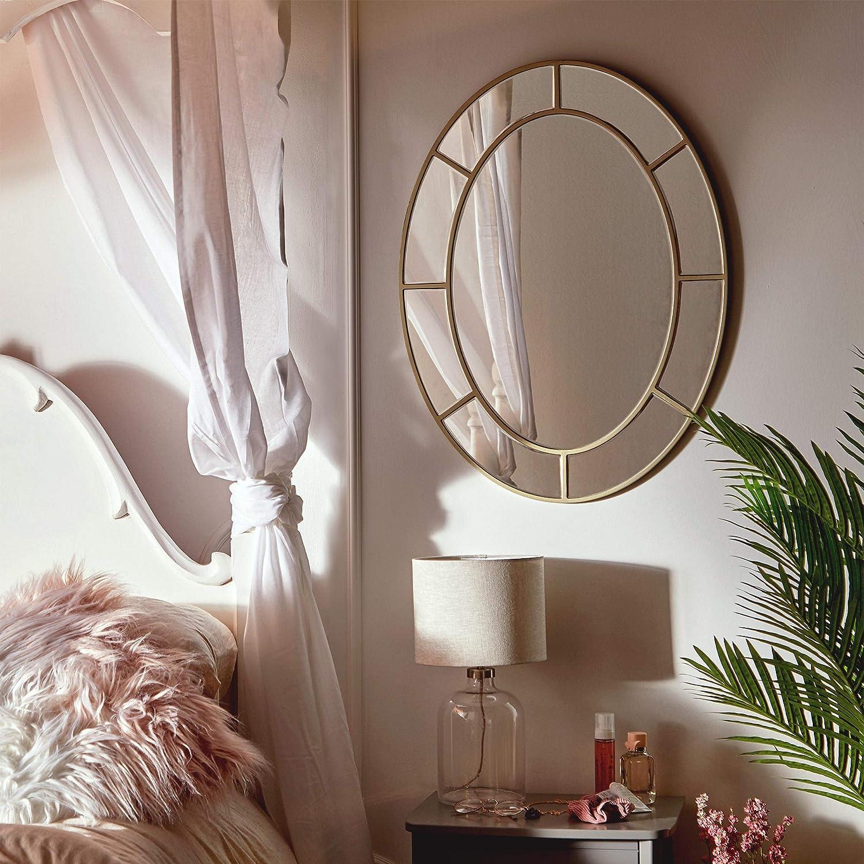 Beautify Espejo Oval Grande - Champaña - Dorado - Ganchos de Metal para Colgar - Vidrio - Círculo - Circular - Sala de Estar - Dormitorio - Pasillo