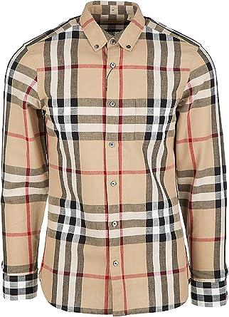 Burberry Camisa de Mangas largas Hombre elfords Beige: Amazon.es: Ropa y accesorios