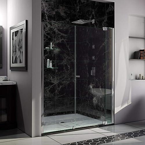 DreamLine Allure 64-65 in. W x 73 in. H Frameless Pivot Shower Door in Chrome, SHDR-4264728-01