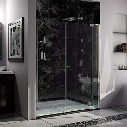 DreamLine Allure 55-56 in. W x 73 in. H Frameless Pivot Shower Door in Chrome, SHDR-4255728-01