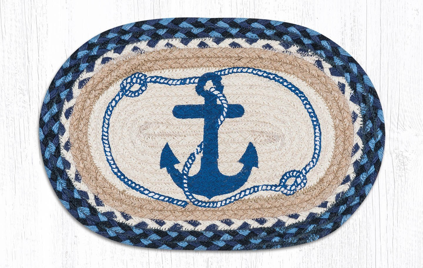 Heart of America Navy Anchor Printed Oval Small Placemat 10in. by 15in. - Set of 4