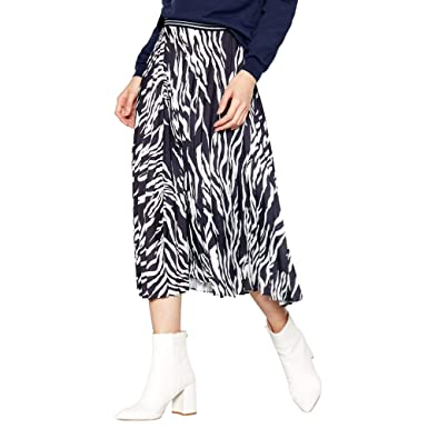 ce740e337 Red Herring Womens Black Zebra Print Pleated Midi Skirt: Red Herring ...