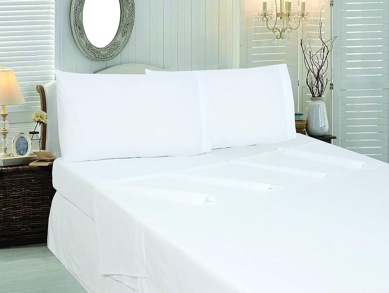 Amazoncom Cotton Sateen Queen BedSheetSet White 4 Piece