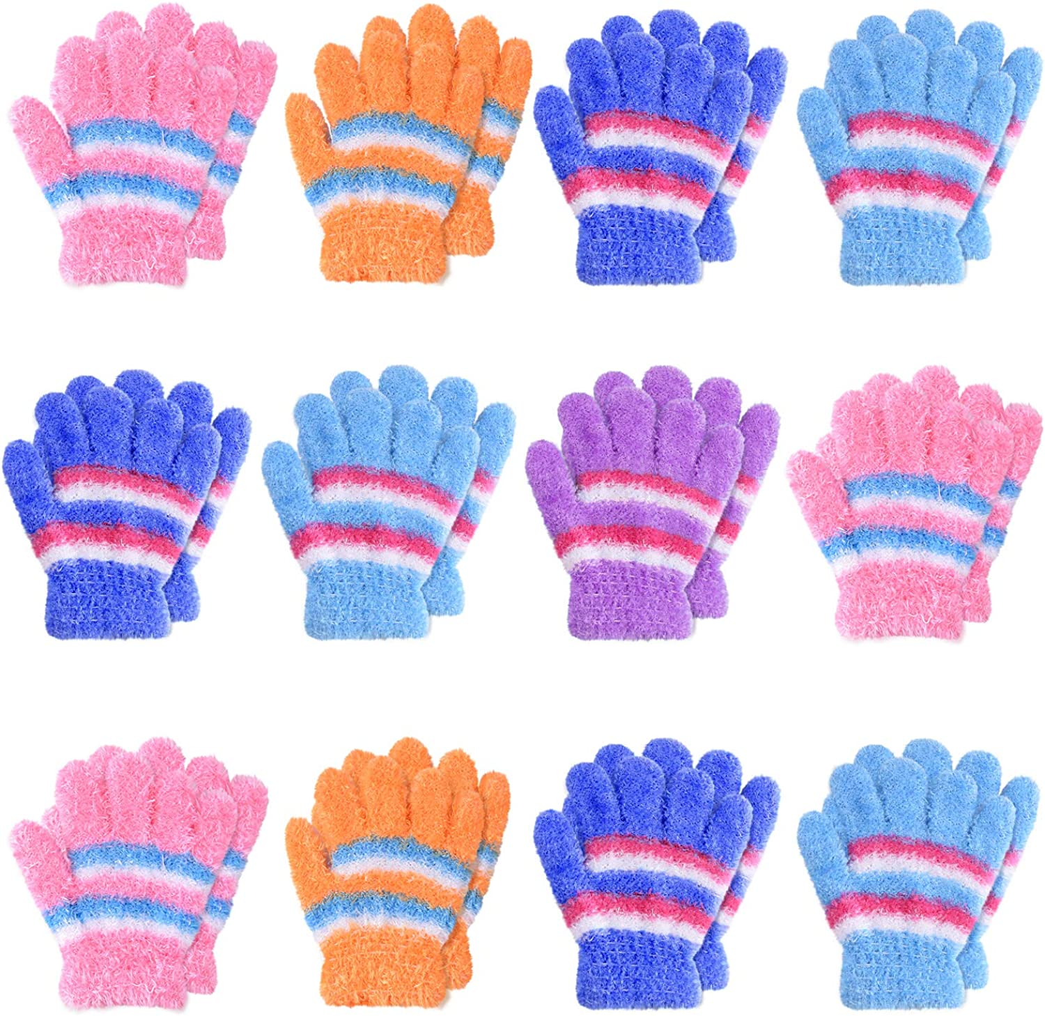 TUPARKA 12 Pairs Toddler Magic Stretch Mittens Little Girls Soft Knit Mitten Baby Boys Winter Knitted Gloves