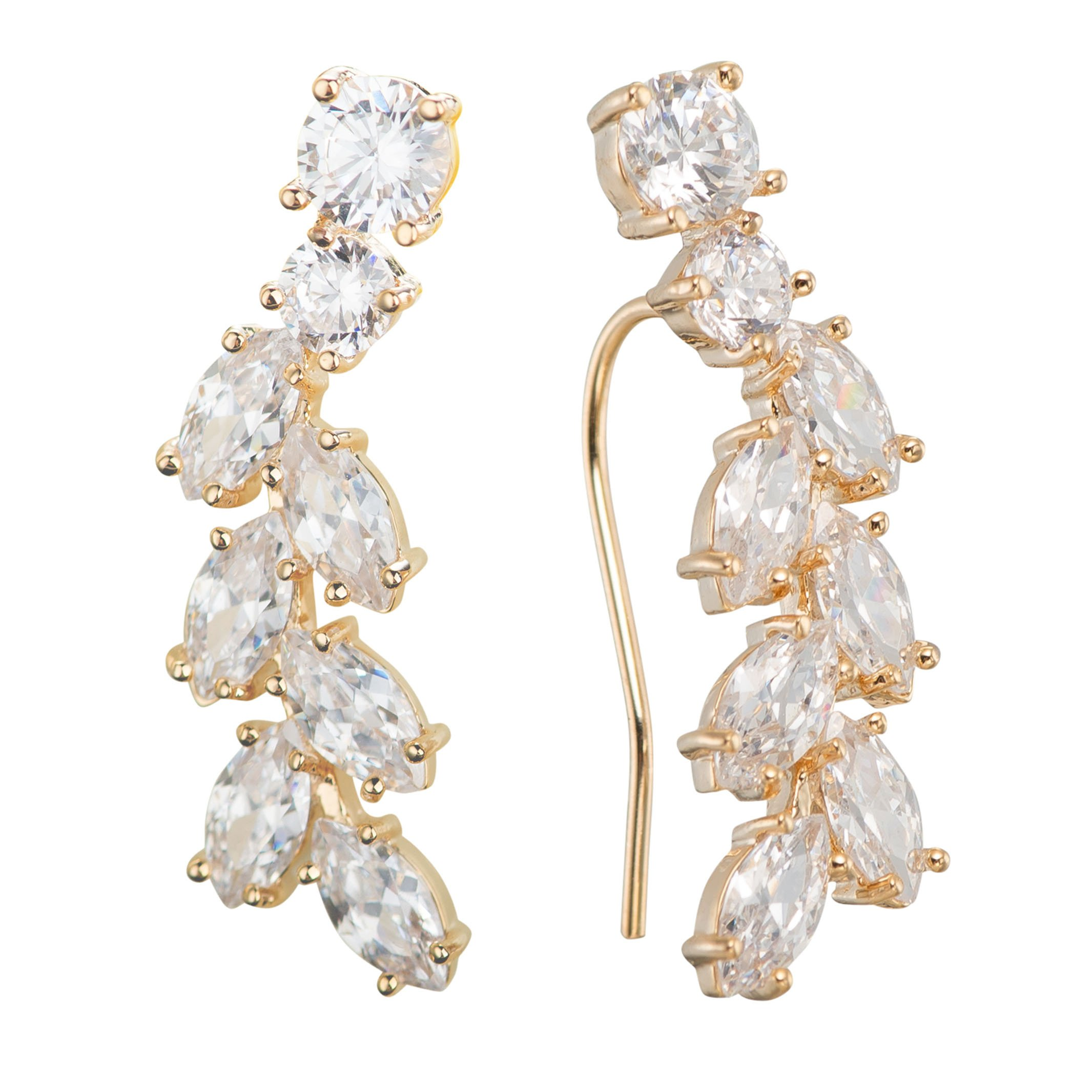 Chicinside Sweep up CZ Crystal Ear Wrap Pin Ear Cuffs Climbers Hook Earrings (gold-plated-base) by Chicinside
