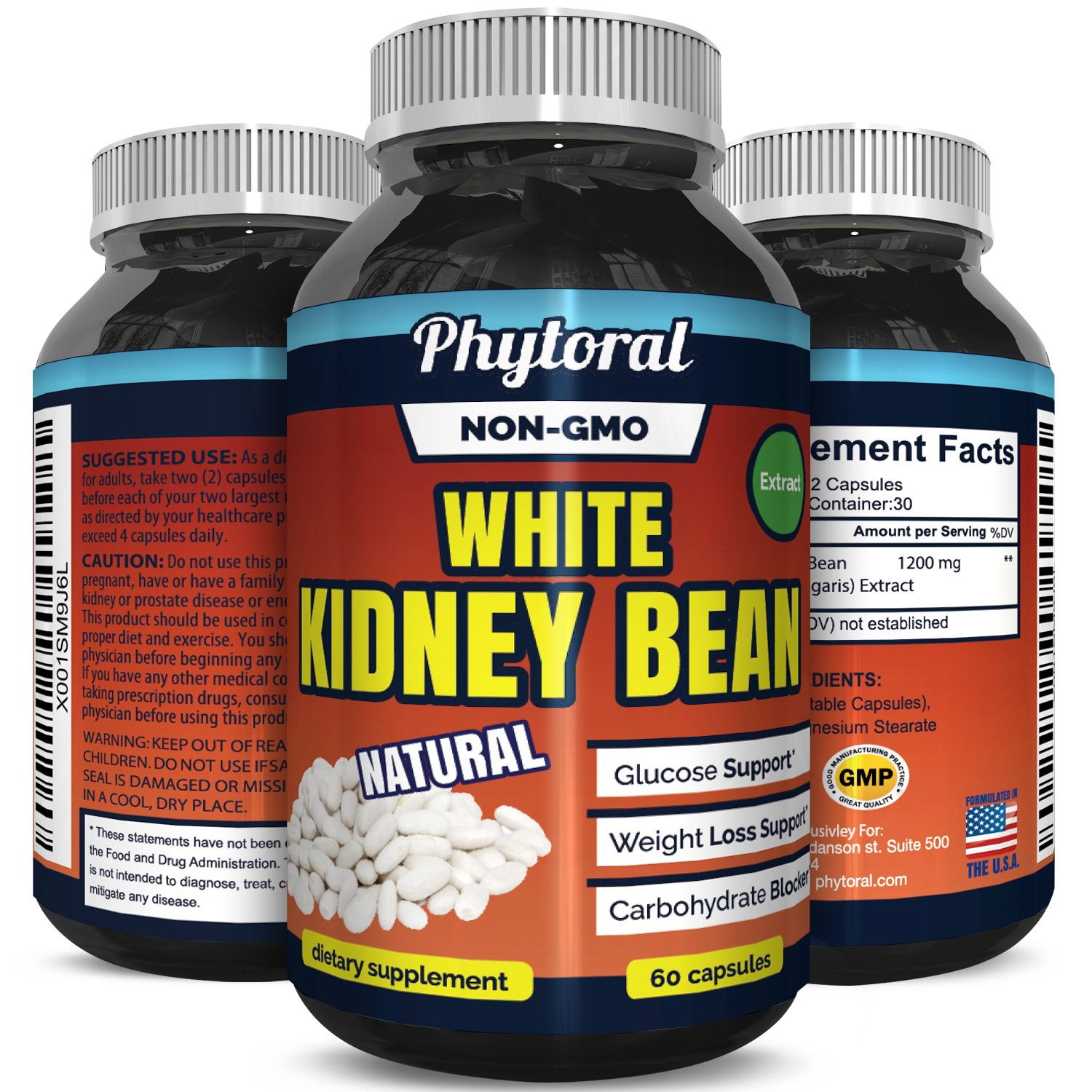 White Kidney Bean Supplement Pills 100% Pure Extract Starch & Carb Blocker Weight Loss Formula - Lose Belly Fat Suppress Appetite Boost Metabolism Natural Weight Loss for Men and Women by Phytoral by Phytoral