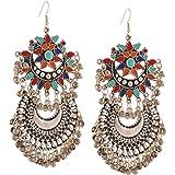 Zephyrr Fashion German Silver Afghani Tribal Dangler Hook Long Earrings Jewellery for Girls and Women