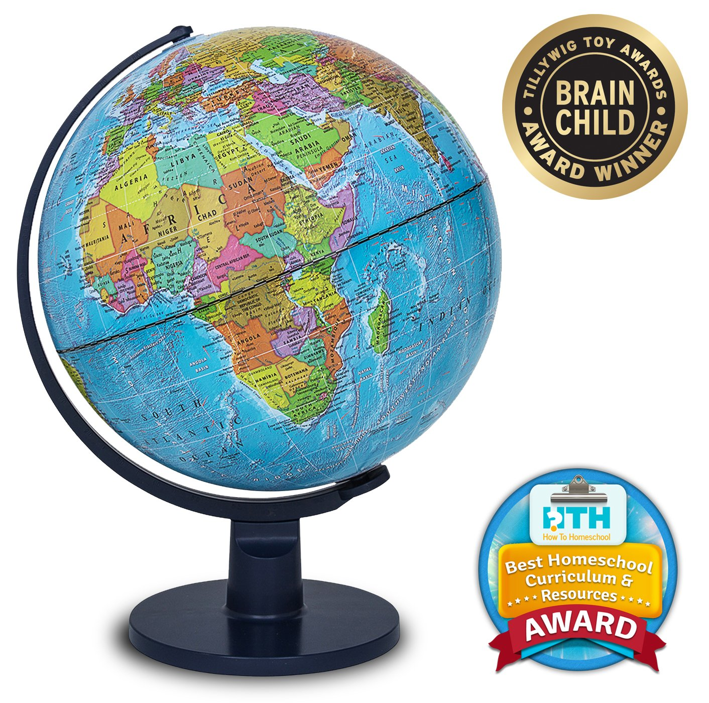 "Waypoint Geographic Scout World Globe Globe For Kids & Teachers- More Than 4,000 Name Places- Great Color & Unique Construction- Up-To-Date World Globe- Geography Globe With Stand- 12"" WP11001"