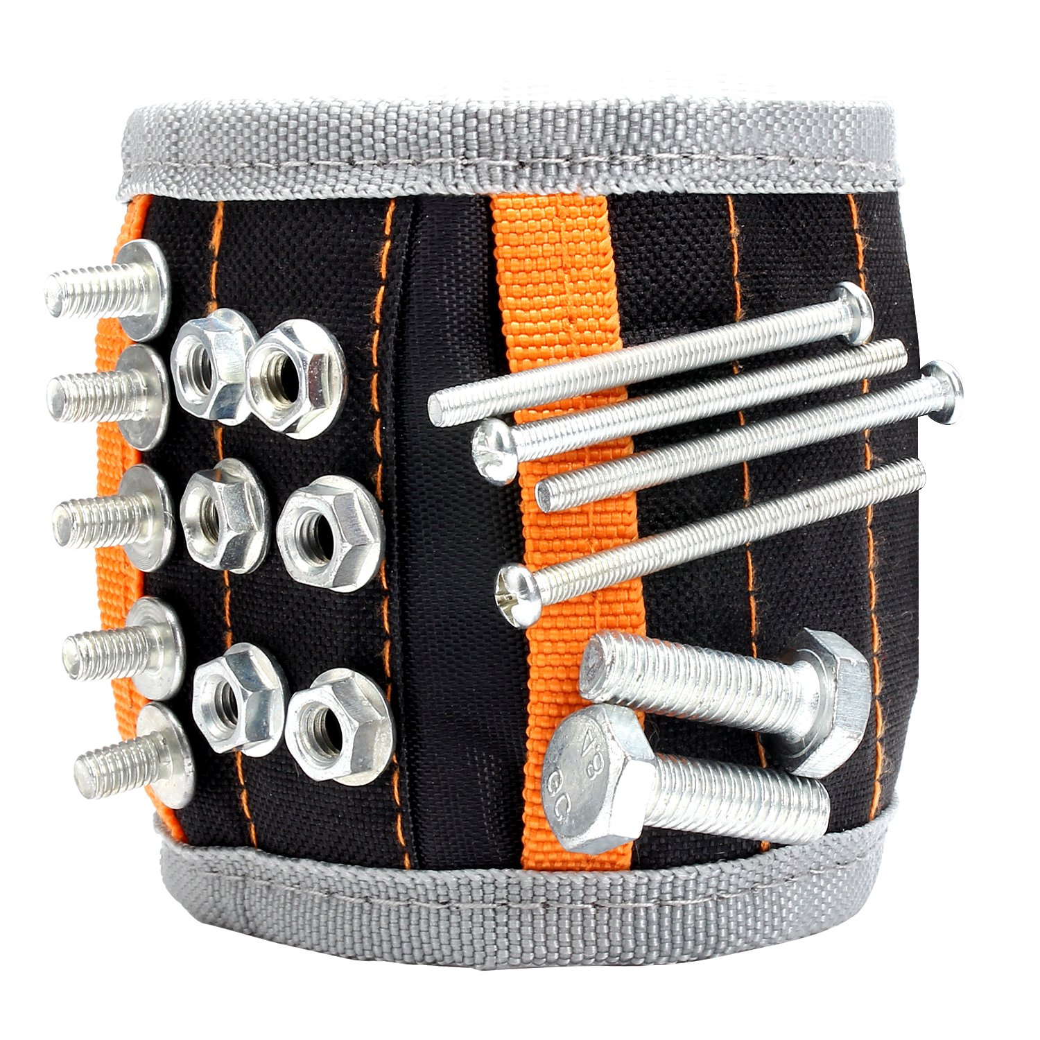 UnaMela Magnetic Wristband,with 5 LightWeight Strong Magnets for Holding Screws,Nails,Bolts,Drill Bits,and Other Small Tools - Perfect Gift for Men, Father/Dad, Husband, Boyfriend, Women (Black)