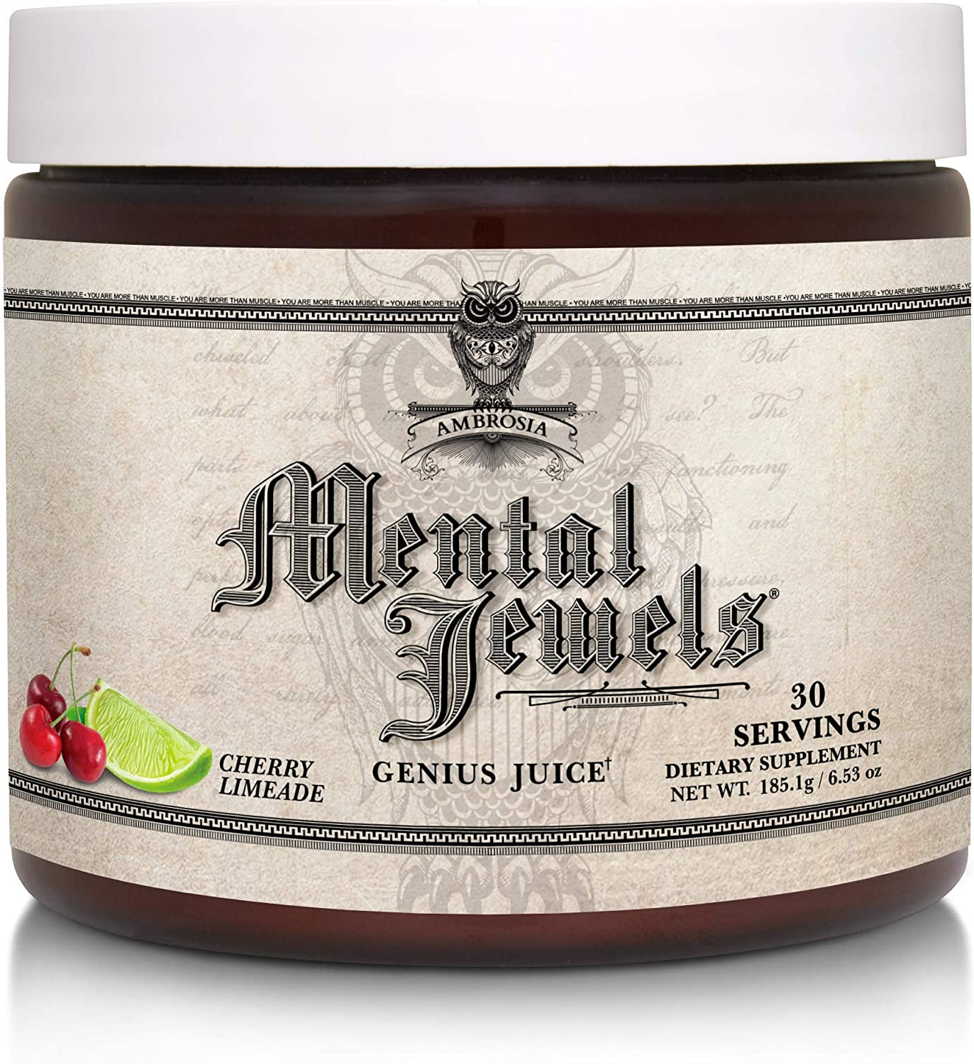 Ambrosia Mental Jewels Powder - Cognitive Enhancer | Increase Memory, Communication Skills, Concentration & Focus | Decrease Reaction Time | Alpha GPC, Choline, BaCognize | 30 Servings| Cherry Limeade
