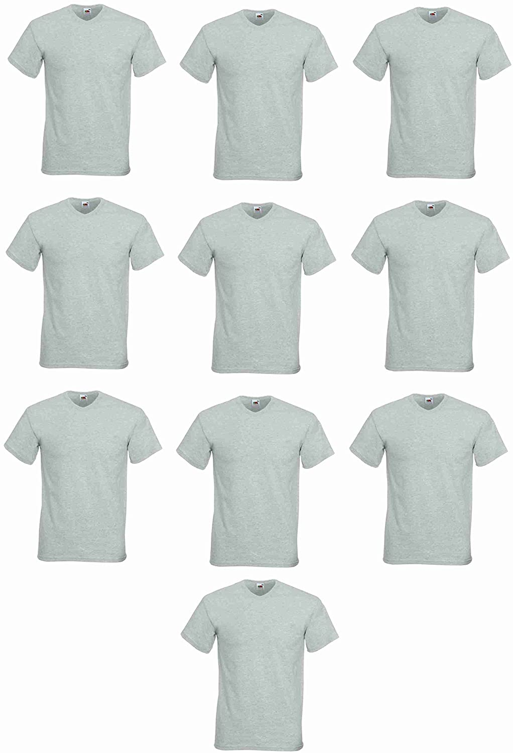 Fruit of the Loom T-Shirt 10 Pack Mens Heather Grey