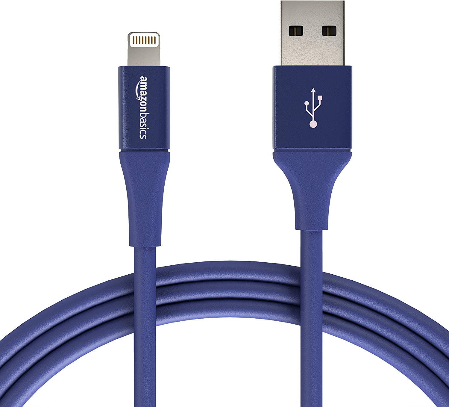 AmazonBasics USB A Cable with Lightning Connector, Premium Collection - 6 Feet (1.8 Meters) - Single - Blue