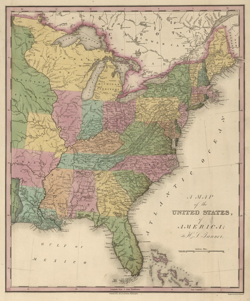 1826 School Atlas | A Map of the United States of America. | Antique Vintage Map Reprint