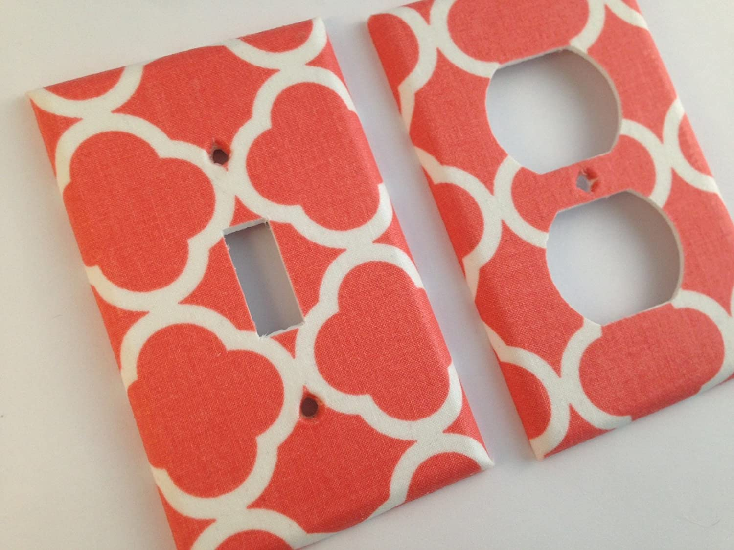 Coral White Quatrefoil Single Light Switch Plate Cover / Moroccan Bedroom / Trellis Decor / Baby Gift / Medallion Decor /Lattice / Boho Decor - Various Size Switchplates Offered