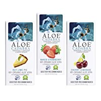 Aloe Cadabra Natural Lubricant Organic Assorted Flavored Water Based Lube Bundle for Her, Him & Couples: 1 Each - Strawberry, Cherry Lemonade and Key Lime