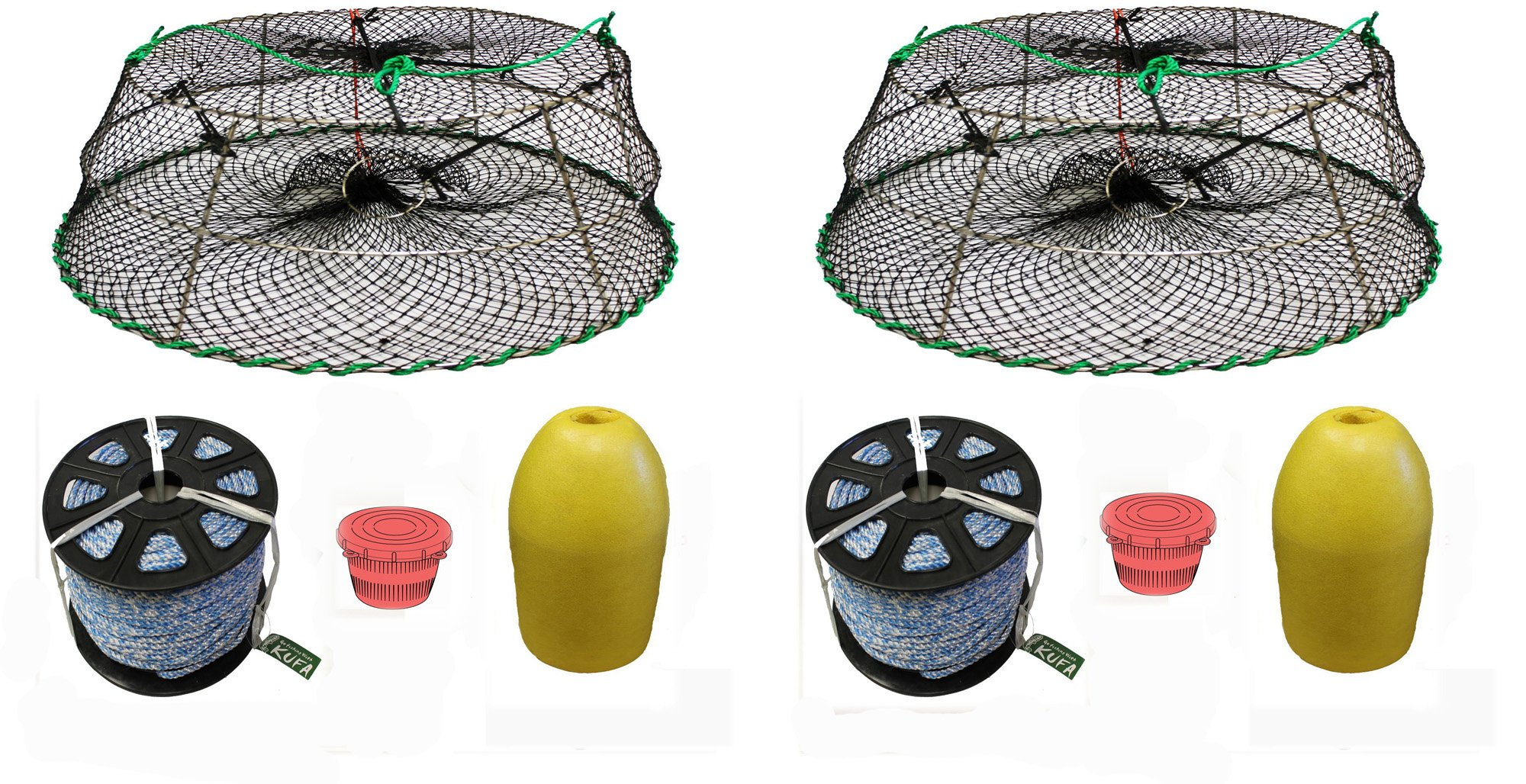 2-Pack of KUFA Sports Tower Style Prawn trap with 400' rope, Yellow float and Vented Bait Jar combo (CT77+PAS1)X2