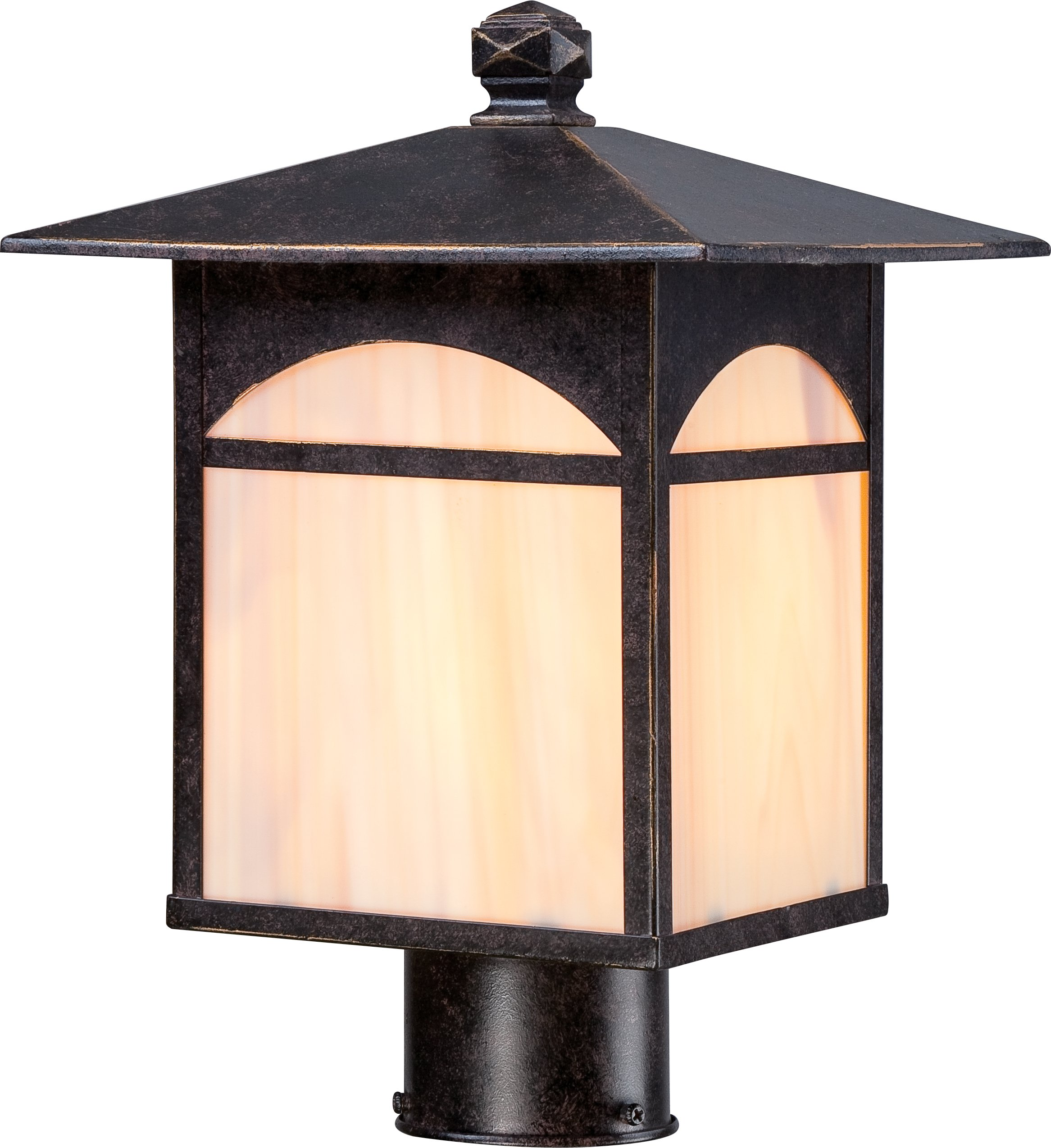 Nuvo Lighting 60/5655 Canyon Post One Light Lantern 100-watt Outdoor Porch and Patio Lighting with Honey Stained Glass, Umber Bronze