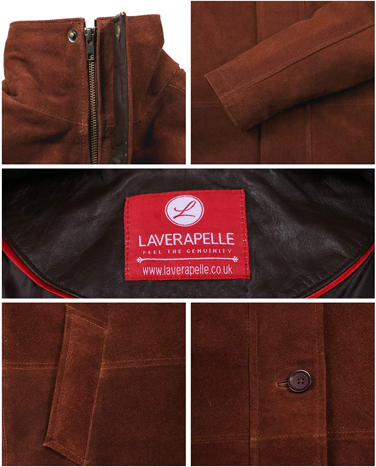Laverapelle Mens Genuine Cow Suede Leather Coat Black, Officer Coat 1502774