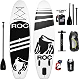 """Inflatable Stand Up Paddle Board by Roc Paddleboards W FREE AUTOMATIC ELECTRIC PUMP , Waterproof Bag , leash , Paddle and hand pump !!! 10' long 6"""" Thick. SUP, Paddle boards."""