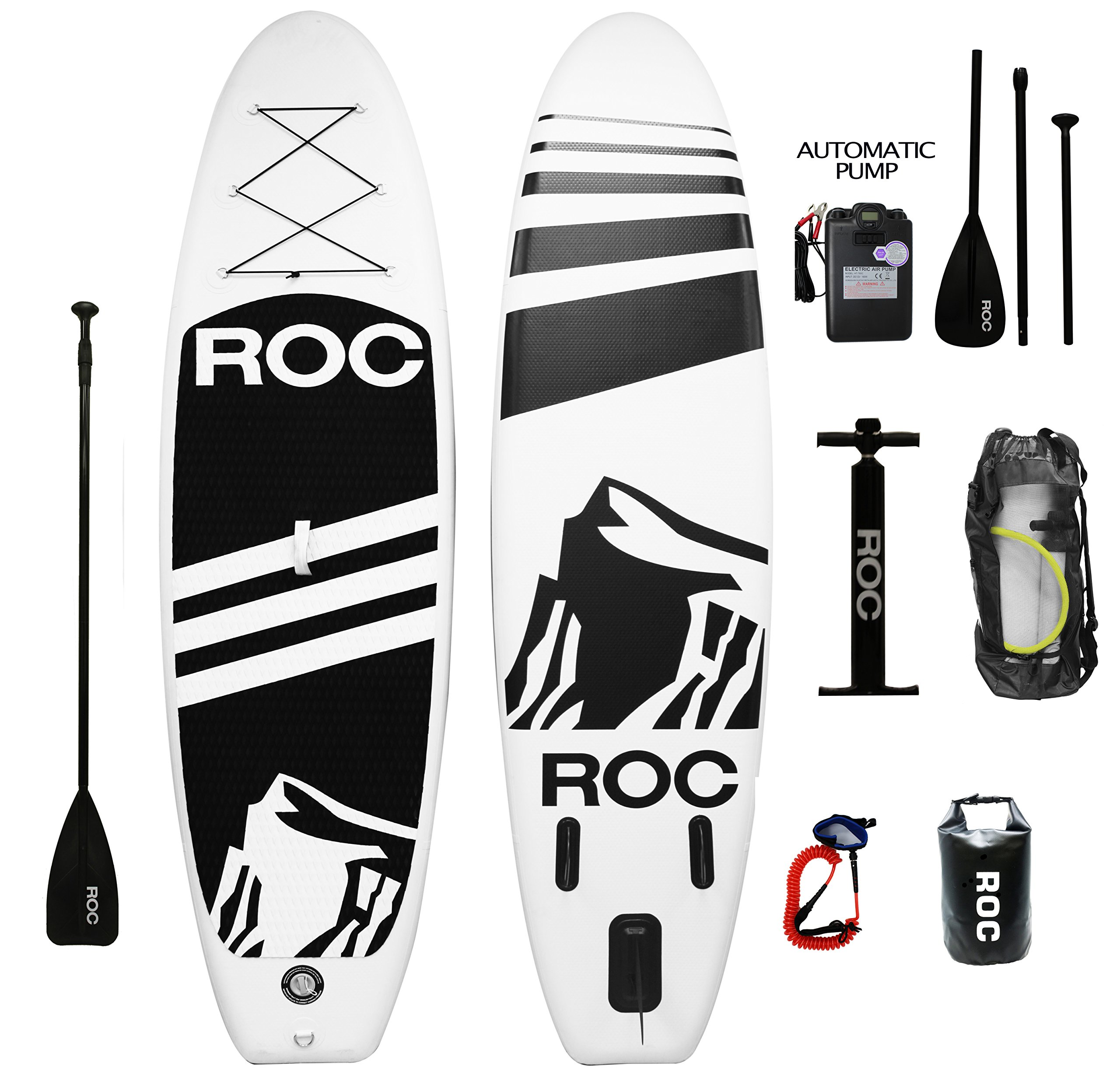 Inflatable Stand Up Paddle Board by Roc Paddleboards W FREE AUTOMATIC ELECTRIC PUMP , Waterproof Bag , leash , Paddle and hand pump !!! 10' long 6'' Thick. SUP, Paddle boards.