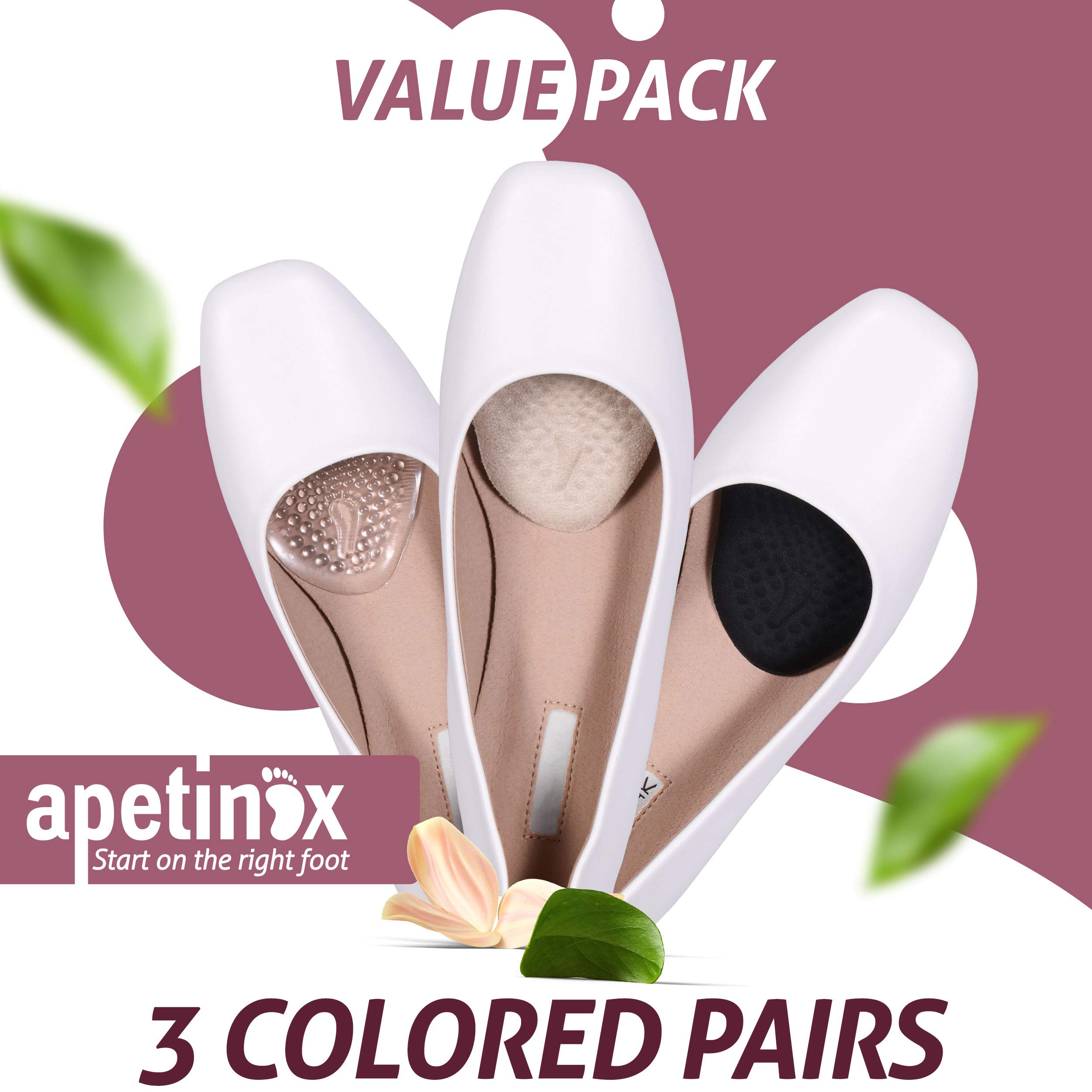 Metatarsal Pads for Women 3 Pairs, High Heel Cushion Inserts, Ball of Foot Cushions for Metatarsalgia, Mortons Neuroma, Feet Pain Relief, Forefoot Cushioning Shoe Support, Comfort Insoles by Apetinox