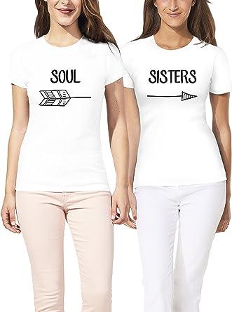VIVAMAKE® Pack 2 Camisetas de Mujer Originales para Mejores Amigas ...