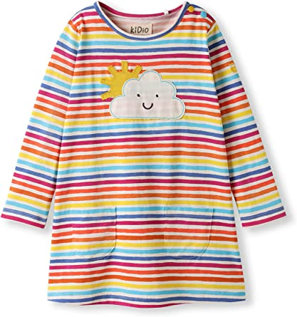 Algodón orgánico - Bebé Niñas pequeñas - Vestido de Manga Larga ...