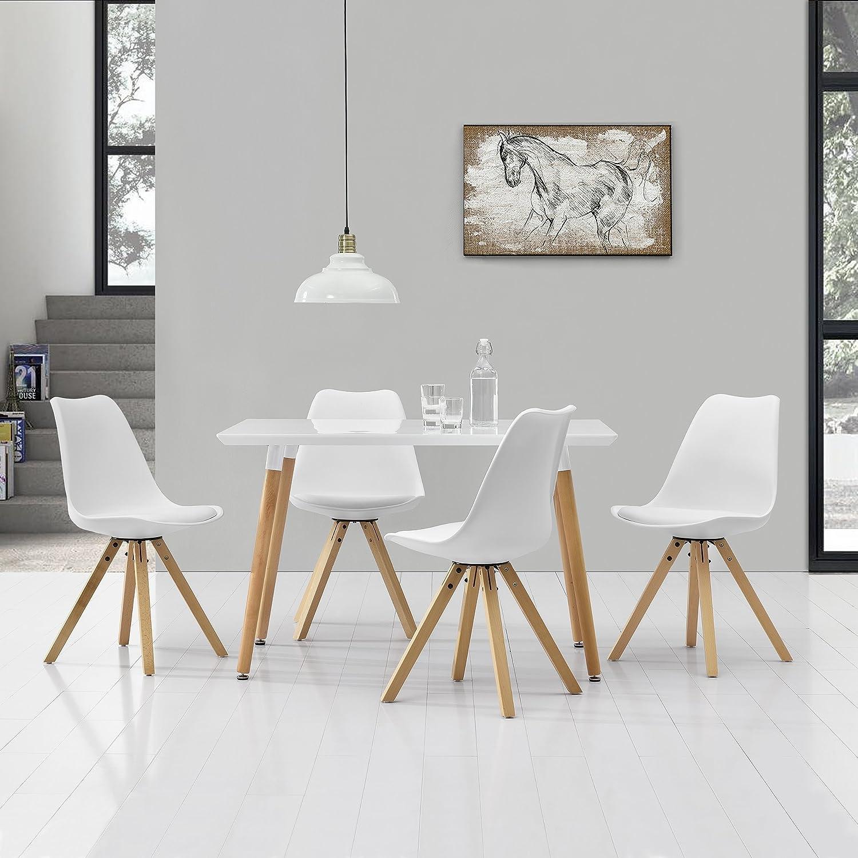[en.casa] Esstisch Mit 4 Stühlen Weiß Gepolstert 120x80cm Kunstleder  Esszimmer Essgruppe Küche: Amazon.de: Küche U0026 Haushalt