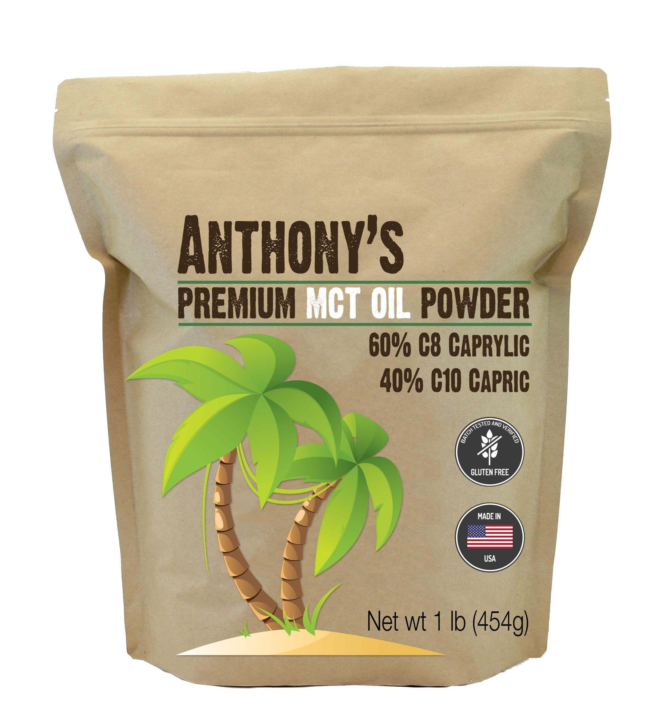 Anthony's Premium MCT Oil Powder - 60% C8 Caprylic, 40% C10 Capric (1lb)