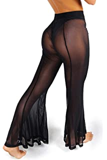 d19f9b1c77 sofsy Mesh Swimsuit Cover Up Pants Women Sheer Beach Sexy Swimwear Coverup  Pant See Through Swim