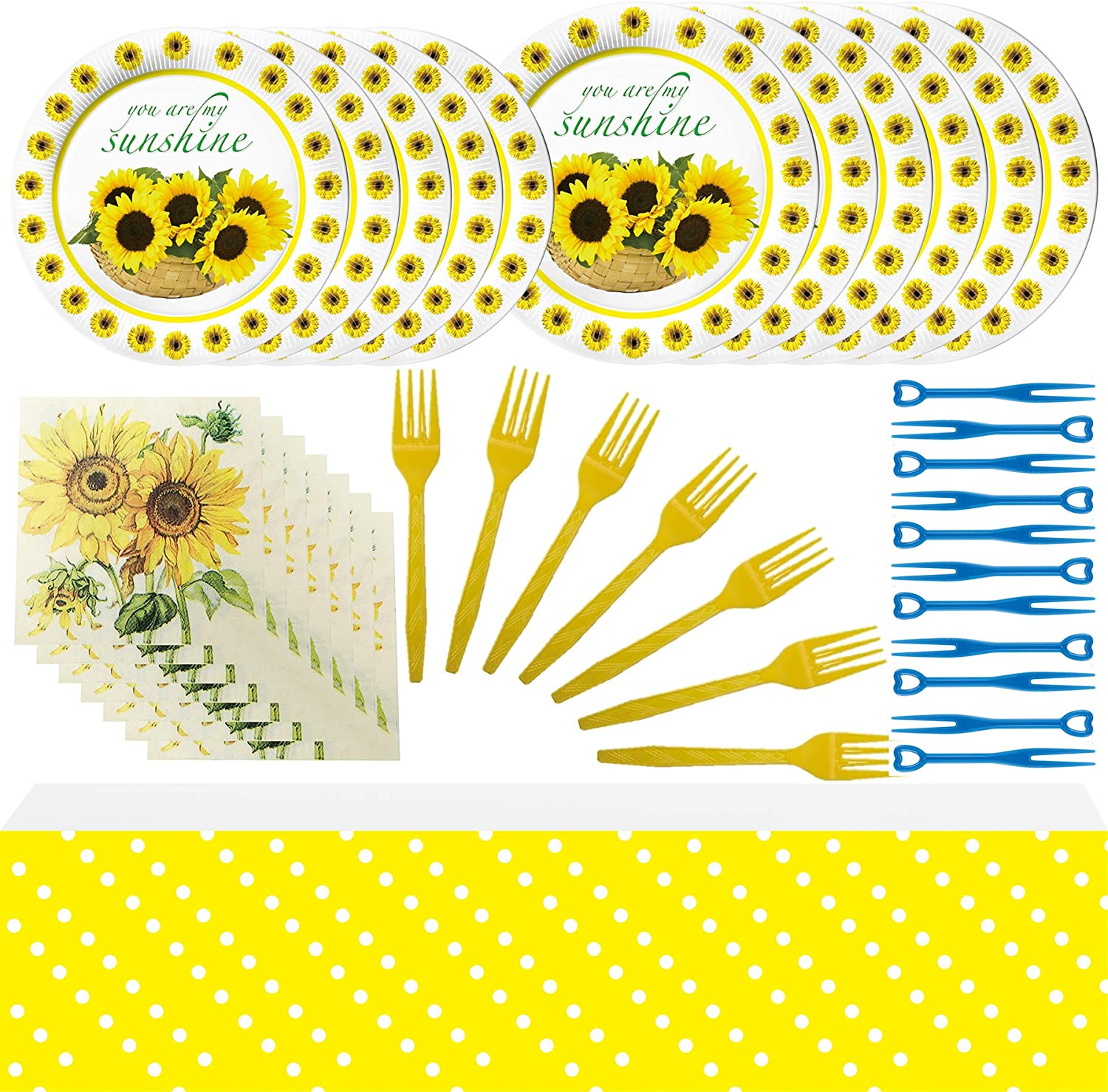 Sunflower Flatware Tablecloth Sunflower Party Decoration Kids Boys Girls and Baby Shower Birthday Party Favors Plates Napkins Sunflower Party Supplies Fork Mini fruit fork Sunflower Birthday Party Dessert Set.