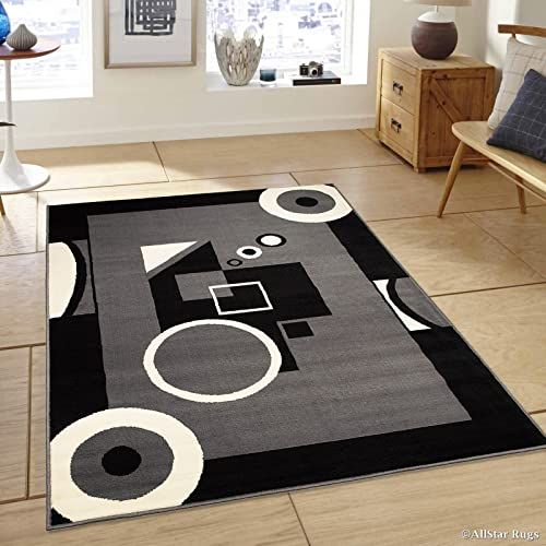 Allstar 8×11 Charcoal Grey Modern and Contemporary Rectangular Accent Rug with Ivory and Black Geometric Abstract Design 7 6 x 10 5