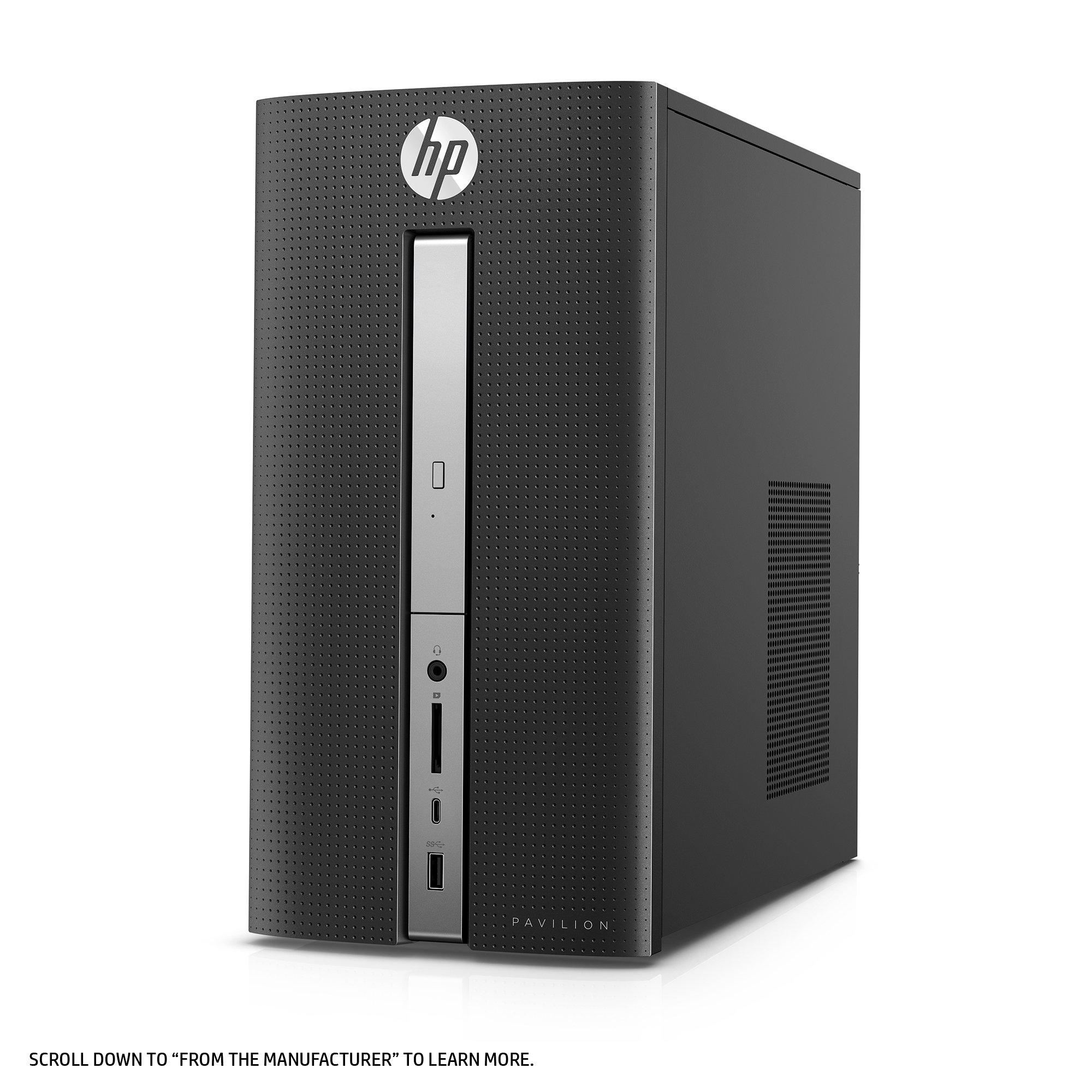 HP Pavilion Desktop Computer, Intel Core i7-7700, 12GB RAM, 1TB hard drive, Windows 10 (570-p030, Black) by HP (Image #3)