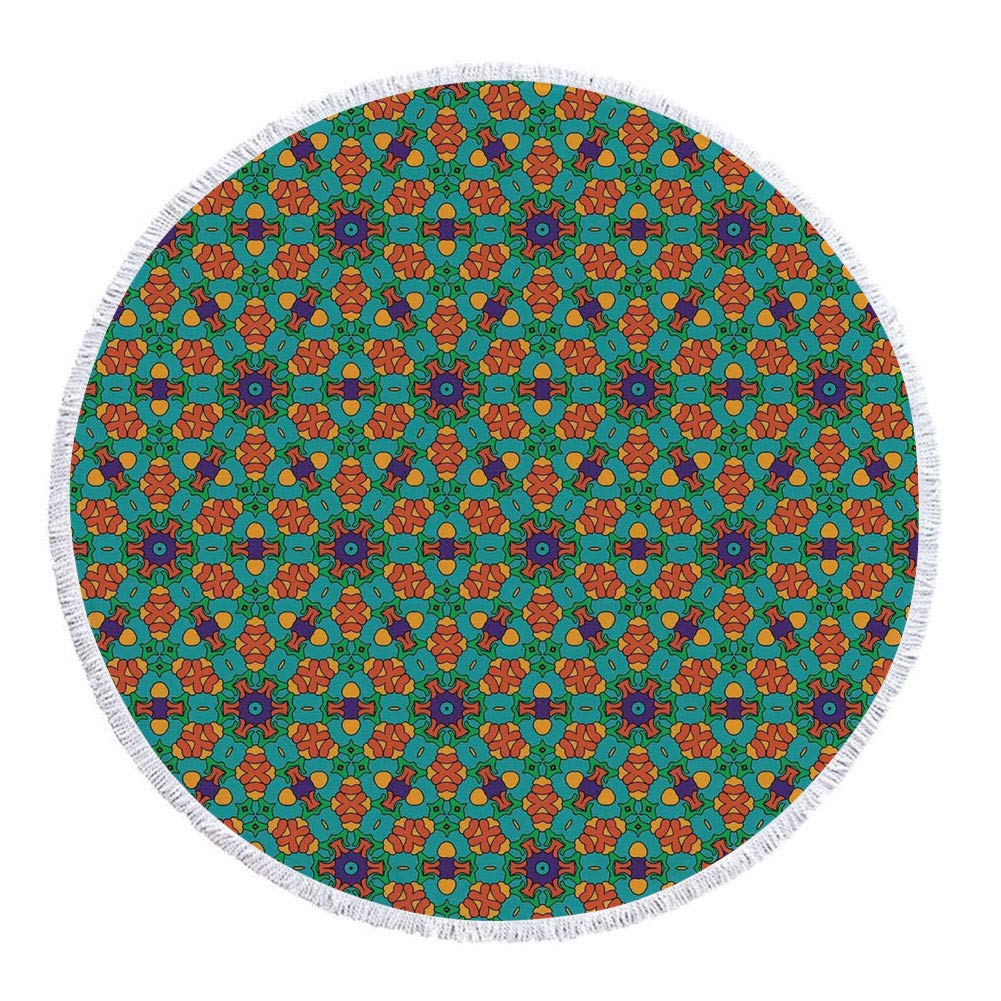 Thick Round Beach Towel Blanket,Orange,Living Room Decor for India Ethnic Design Lovers Floral Print,Fern Green Marigold and Navy Blue,Multi-Purpose Beach Throw