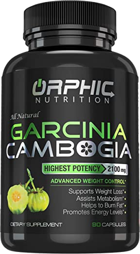 100% Pure Garcinia Cambogia Extract 95% HCA - 2100mg Appetite Suppressant - Carb Blocker Capsules - Orphic Nutrition - 90 Caps