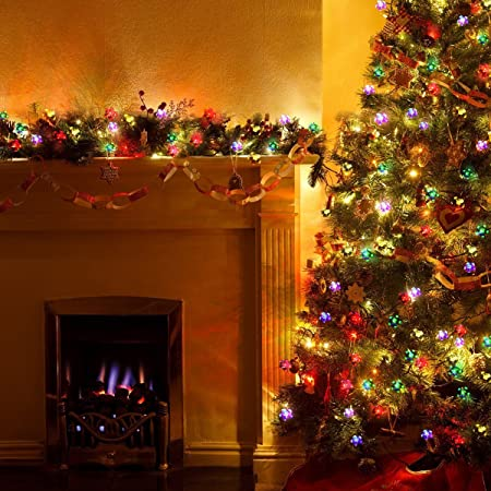 Gigalumi 23 Feet 50 LED Solar Christmas Lights decorated on a christmas tree