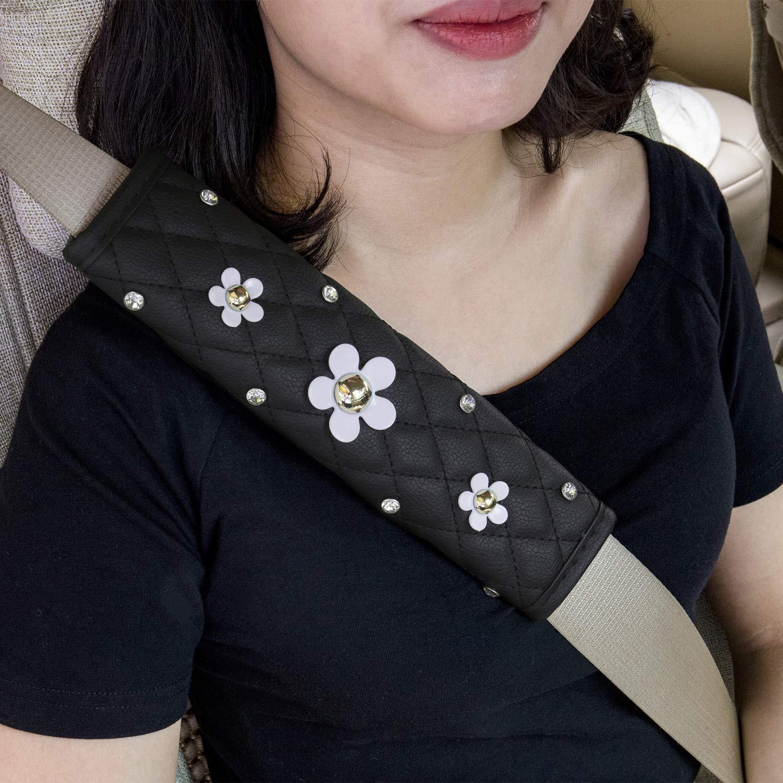 Admluck Auto Sitzriemen Pads mit Fashion Cute Bling Rhinstones Soft Leather Stylish Exquisite Lattice Design Elegante Car Series Sitzriemen Covers f/ür Erwachsene M/ädchen Damen Queen -Crown
