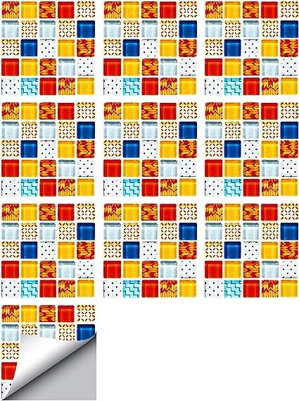 Vosarea 10 pegatinas para azulejos impermeables estilo vintage para cocina 15 x 15 cm