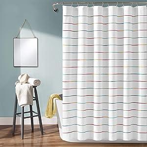 Lush Decor, Rainbow Ombre Stripe Yarn Dyed Cotton Shower Curtain, 72