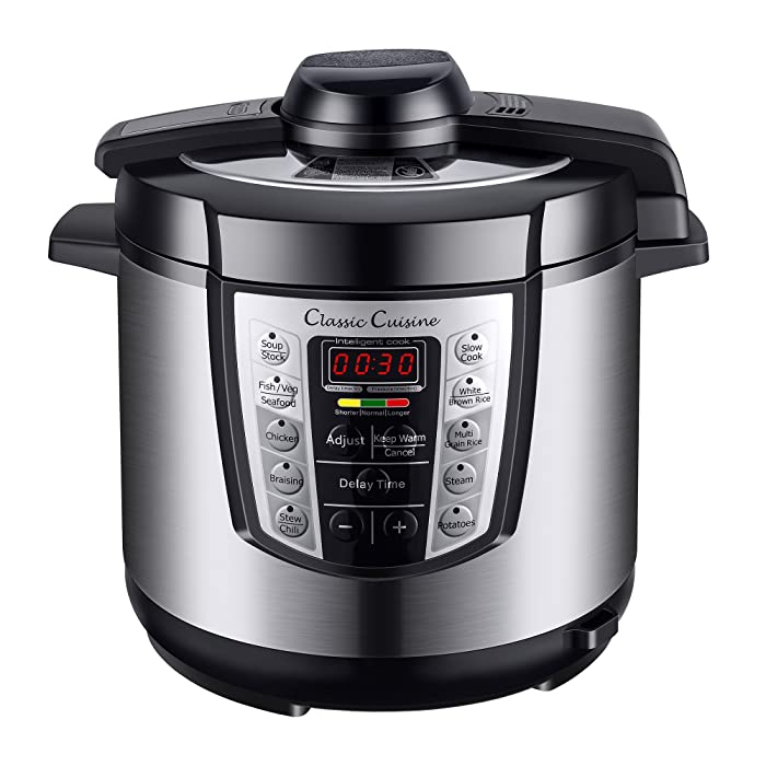 Multi-Cooker 4-in-1 Pressure Cooker, Slow Cooker, Rice Cooker, Steamer with 10 programmed settings and start delay timer – 6 Quart by Classic Cuisine