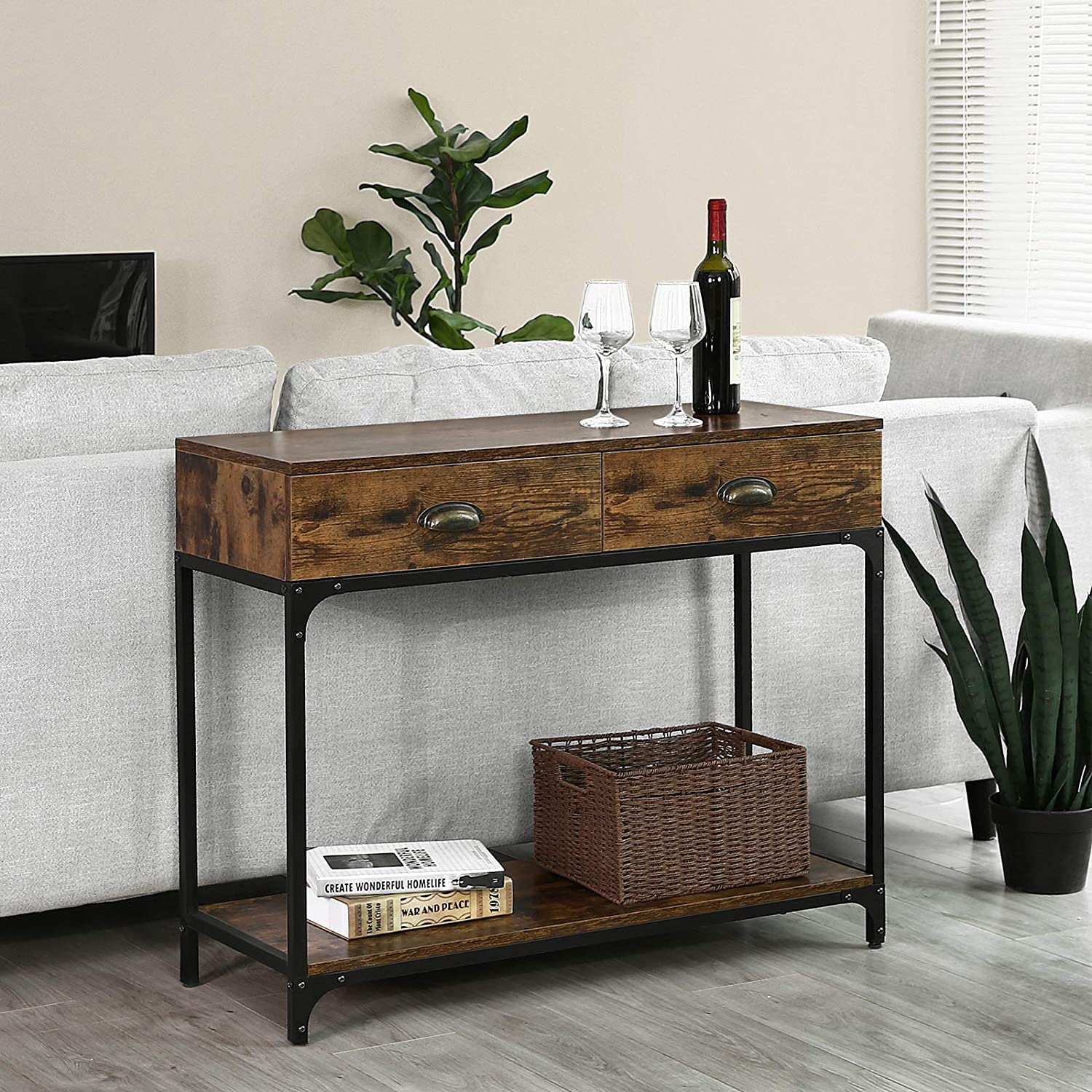 VASAGLE Industrial Console Table, Entryway Sofa Table with 2 Drawers and Shelf, Accent Storage with Sturdy Metal Frame, for Living Room, Rustic Brown ULNT39X