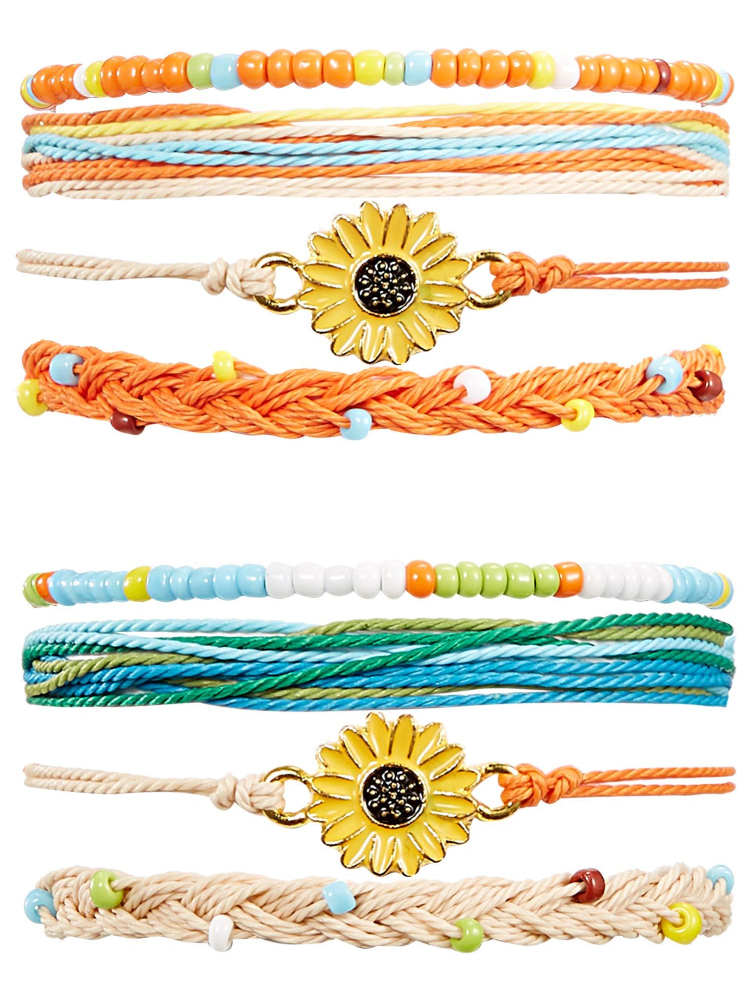 meekoo 2 Sets Braided Rope Bracelets Handmade Sunflower Bracelets Beaded Boho Waterproof Bracelets Friendship Bracelets for Women Girls (Blue, Orange) by meekoo