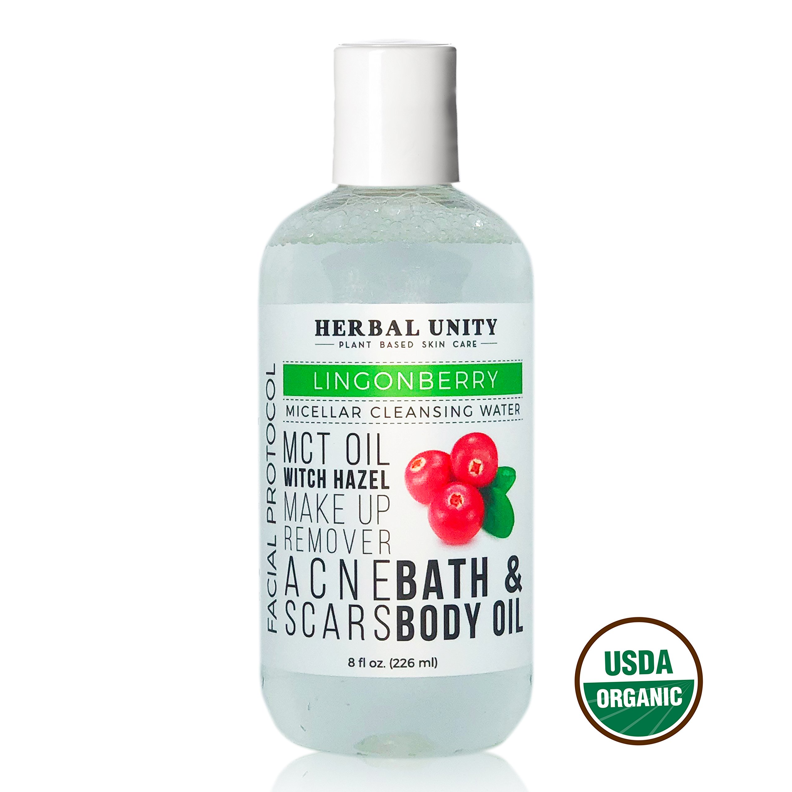 Micellar Cleansing Water - All Natural & Organic Lingonberry Extract - Deep Facial Cleanser Oil - 3-in-1 - Make up Remover & Brightening - Removes Dirt - No Rinse - Pore Purifying