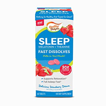 Healthy Delights, Melatonin & Theanine, Sleep Strawberry Flavor Fast Dissolves, Naturally Flavored,