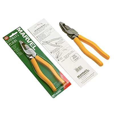 "MARVEL MVA-200N Lineman's Pliers 8.5"" with Wire Cutter/Crimper/Grip 