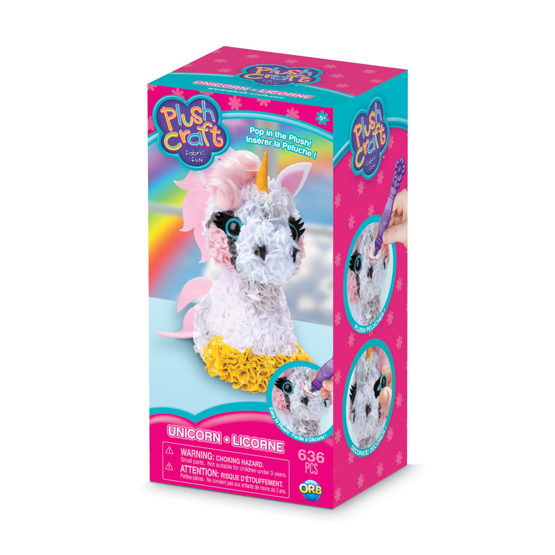THE ORB FACTORY LIMITED 10027964 Plush Craft 3D Unicorn, 5'' x 4'' x 10'', Pink/White/Yellow/Grey by THE ORB FACTORY LIMITED