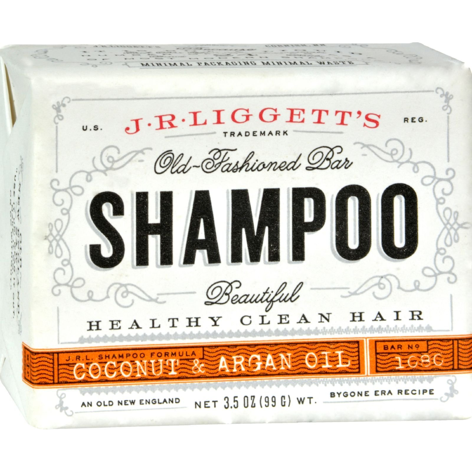 J.R. Liggett Bar Shampoo, Virgin Coconut Aragan Oil, 3.5 oz.