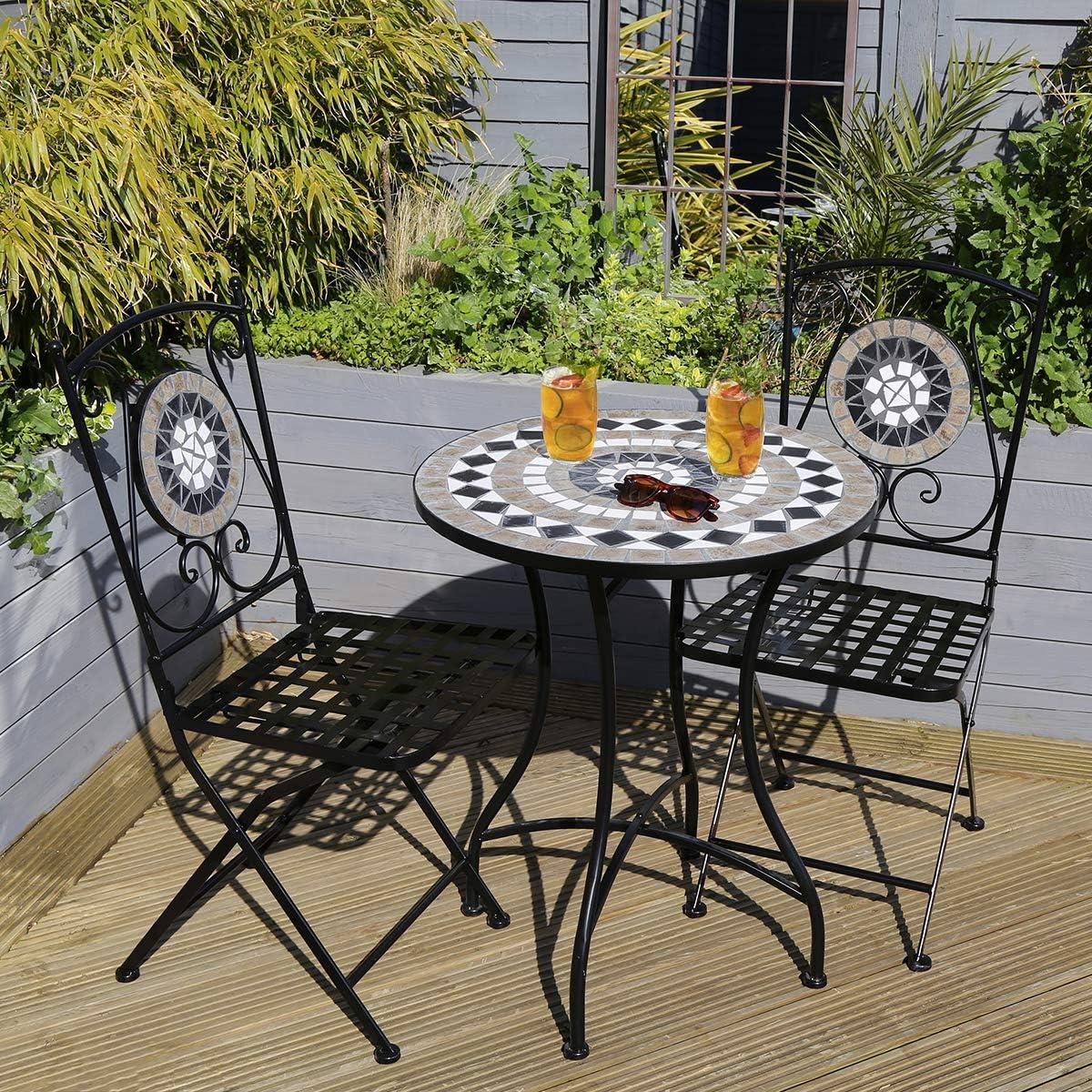 Charles Bentley Ronda Forja Mosaico Bistro fijado para dos jardín y comedor al aire libre antiguo Look - Negro y Gris: Amazon.es: Jardín