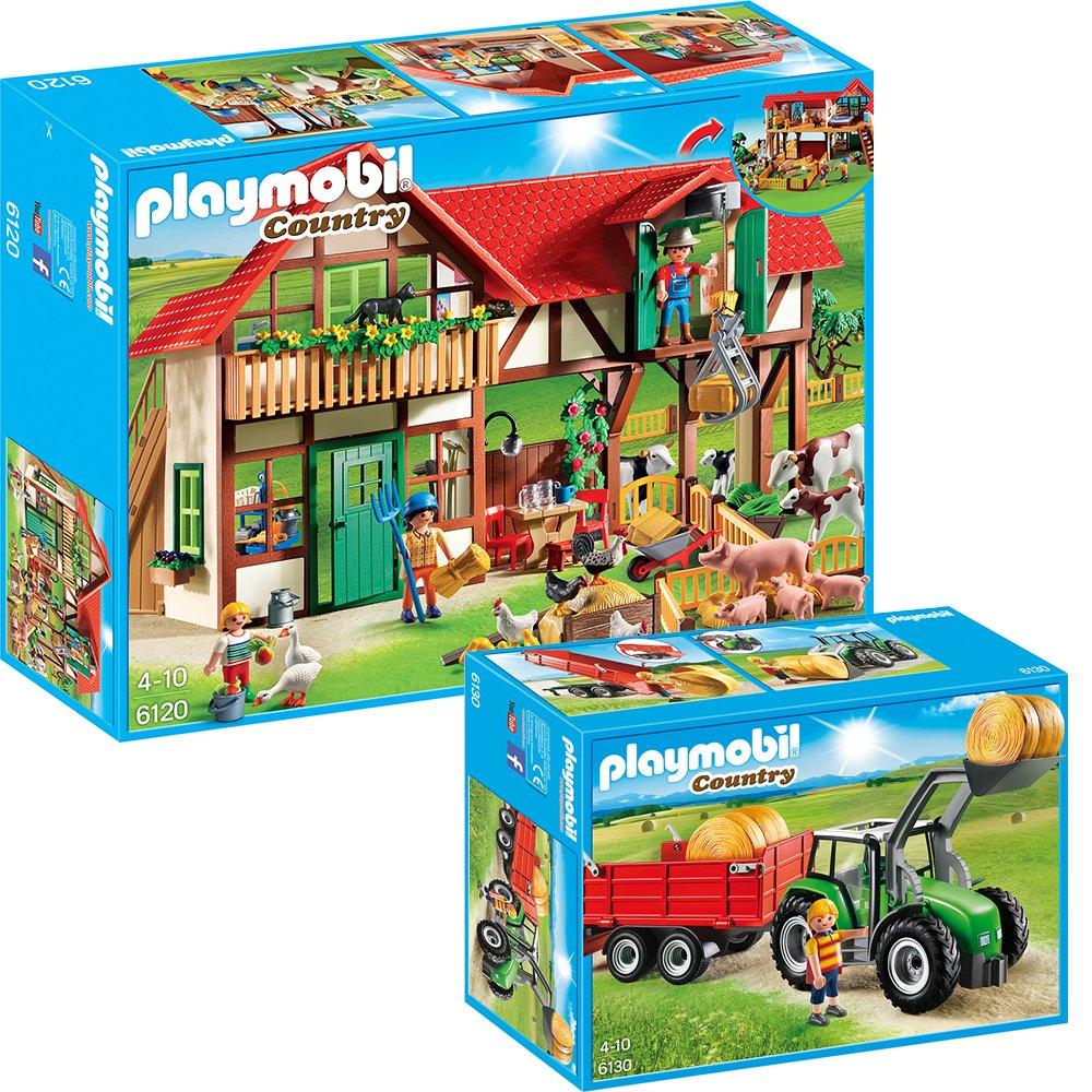 PLAYMOBIL Country 2-teiliges Bauernhof-Set 6120 Großer Bauernhof + 6130 Großer Traktor mit Anhänger Geobra Brandstaetter